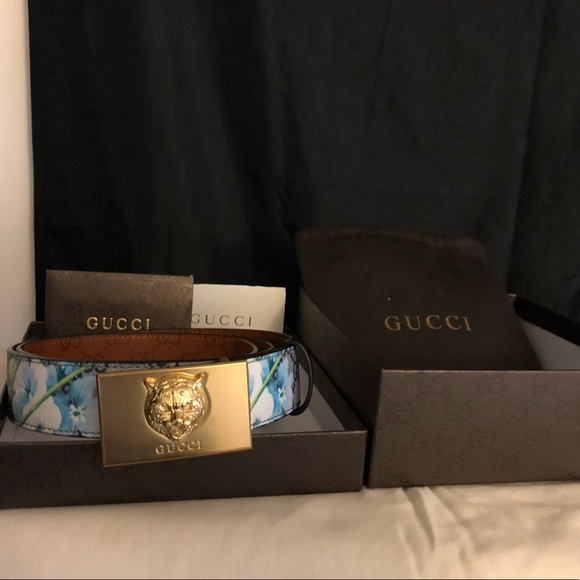 572e8780a07 Gucci Other - Gucci Tiger Blue Bloom Belt